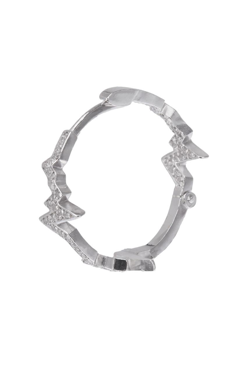 Caviar Jewellery Серебряные серьги-кольца с фианитами