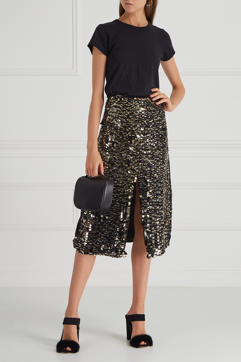 Шелковая юбка с пайетками