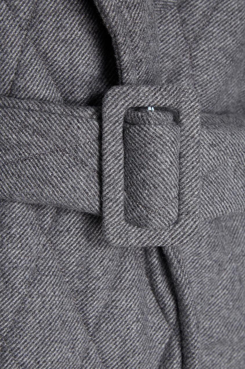 I Am  Studio Шерстяное серое пальто i am studio блузка с открытыми плечами i am studio iam178620r