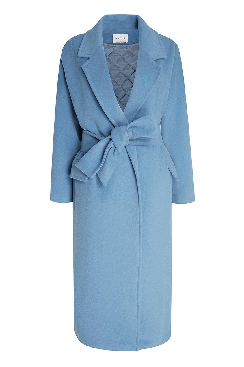 I Am  Studio Голубое пальто из шерсти пальто из шерстяного драпа 70