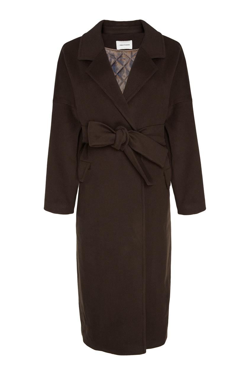 I Am  Studio Шерстяное пальто-халат с поясом пальто из шерстяного драпа 70
