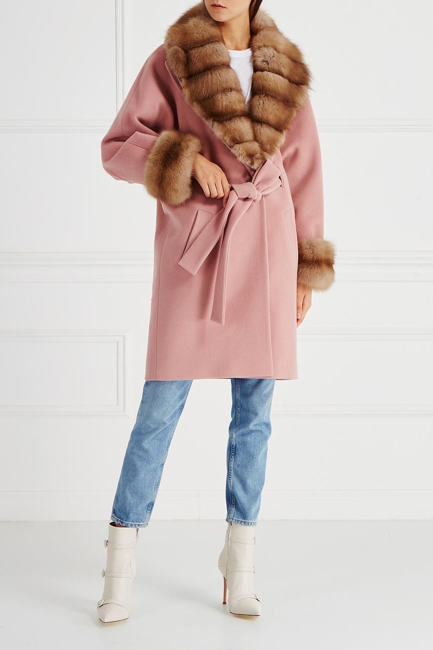 DREAMFUR Розовое пальто с мехом куницы dreamfur хомут из меха соболя