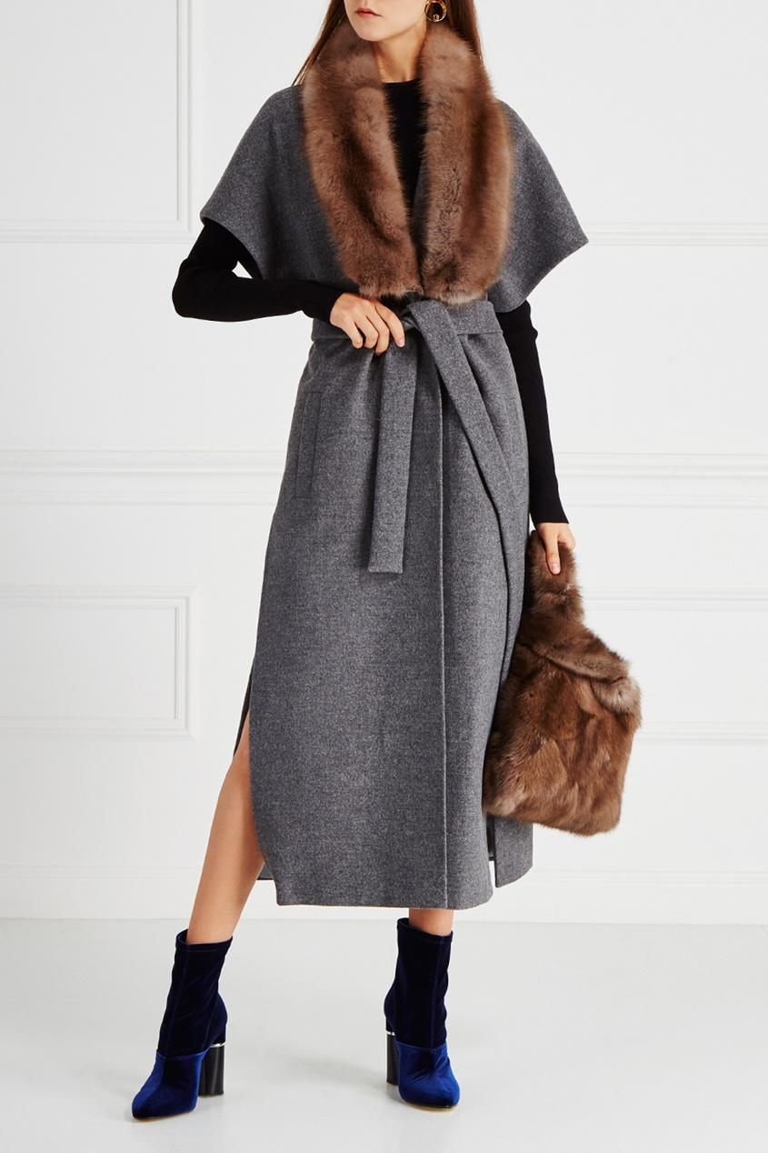 DREAMFUR Кашемировое пальто с воротником из меха куницы куплю шкуры куницы 2014 год октябрь