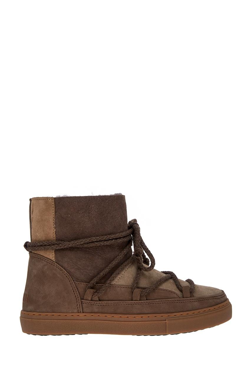 Бежевые ботинки-луноходы из замши
