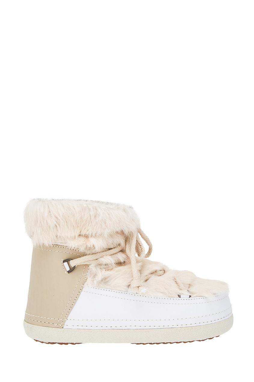 Кожаные ботинки-луноходы с мехом