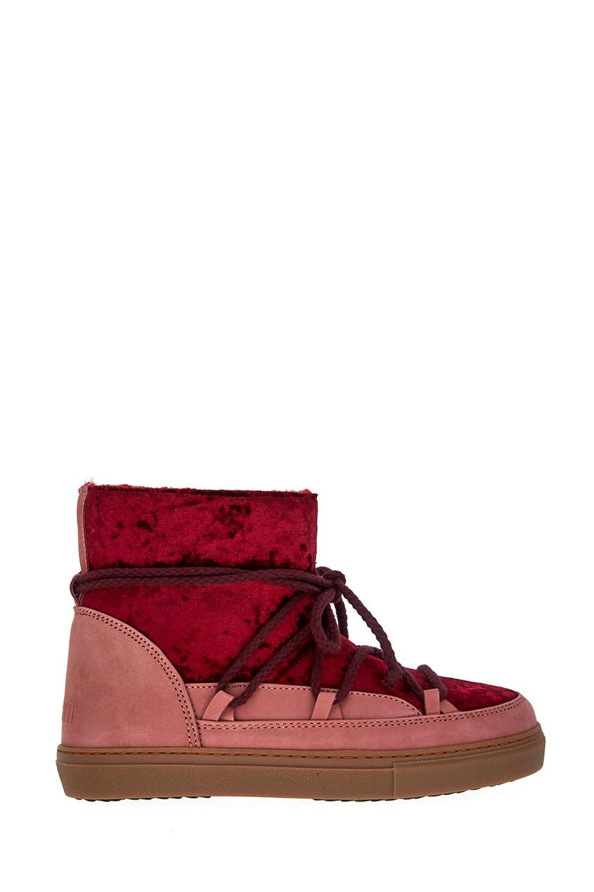 Бордовые ботинки-луноходы с бархатом