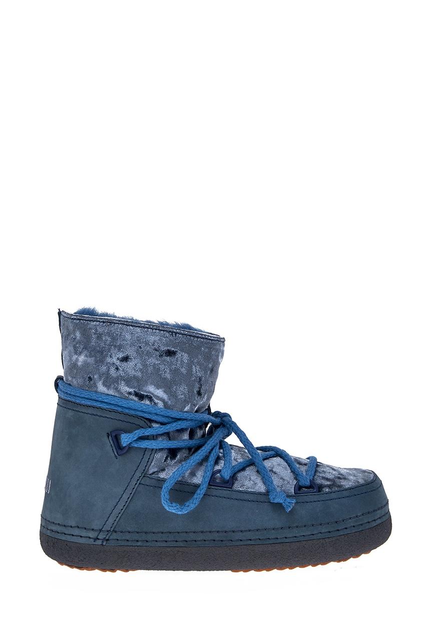 Голубые ботинки-луноходы с бархатом