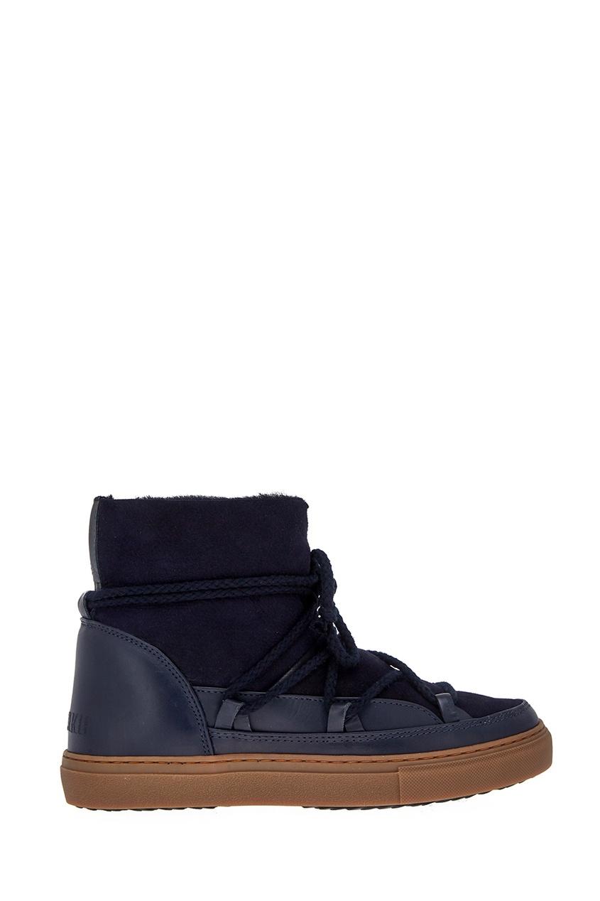 Синие ботинки-луноходы из овчины