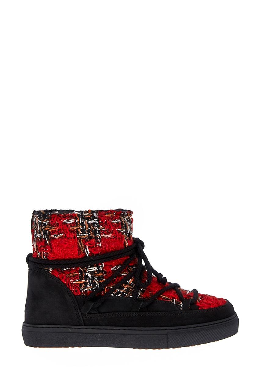 Ботинки-луноходы с твидовой отделкой