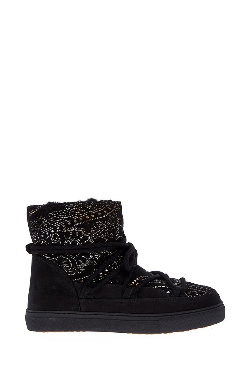 Замшевые ботинки-луноходы с принтом