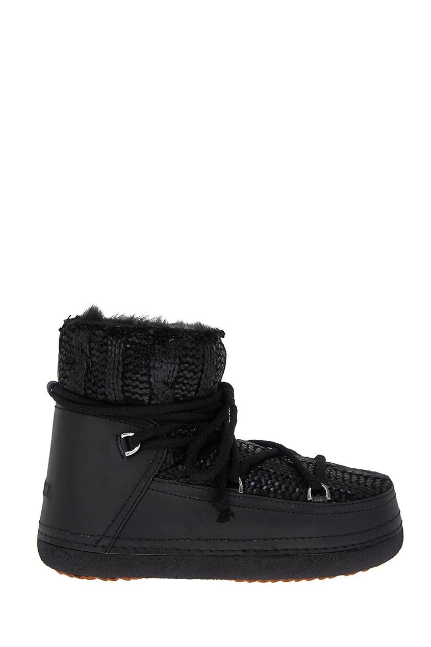 Черные ботинки-луноходы с вязаным декором