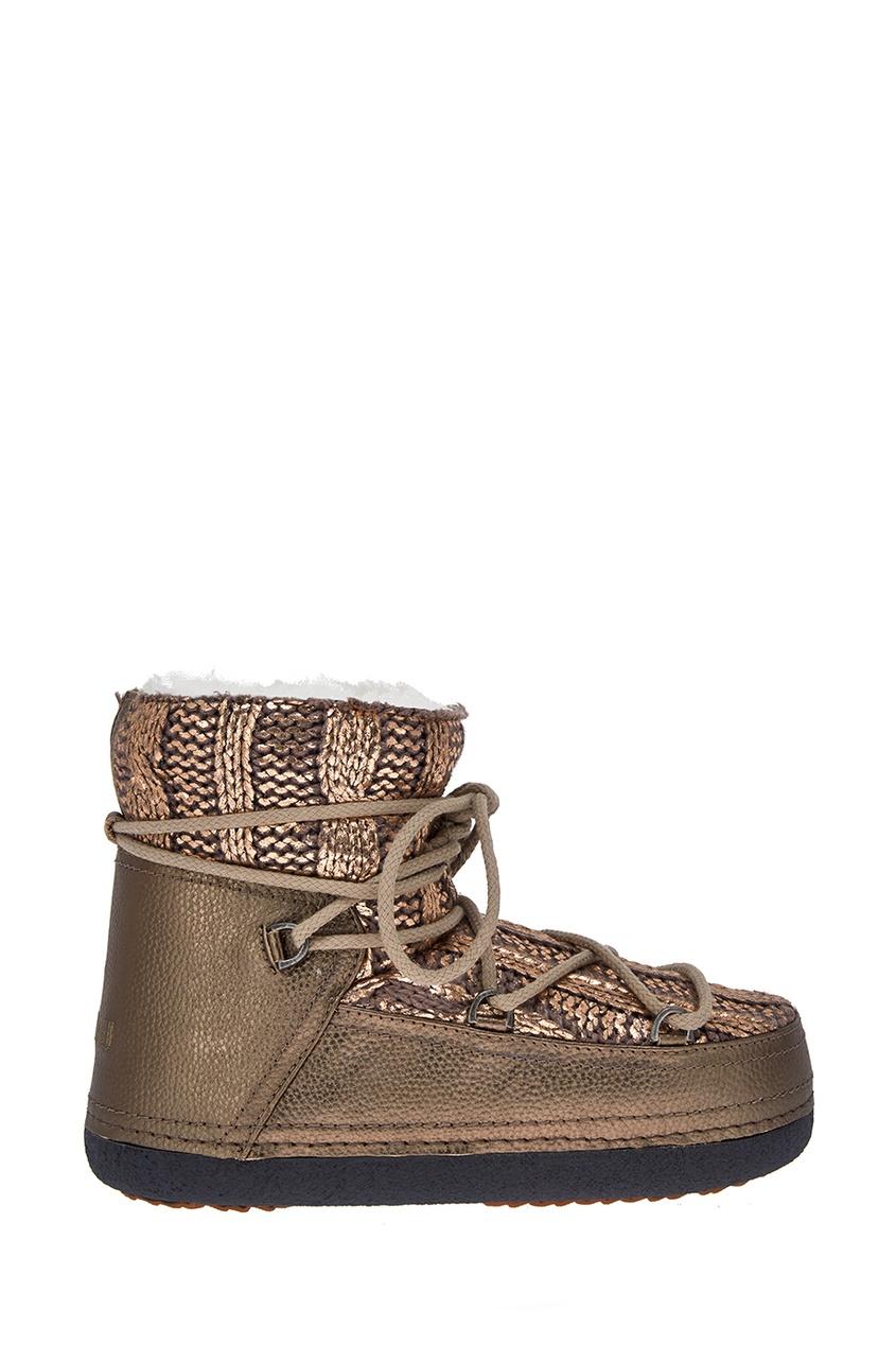 Бежевые ботинки-луноходы с вязаным декором