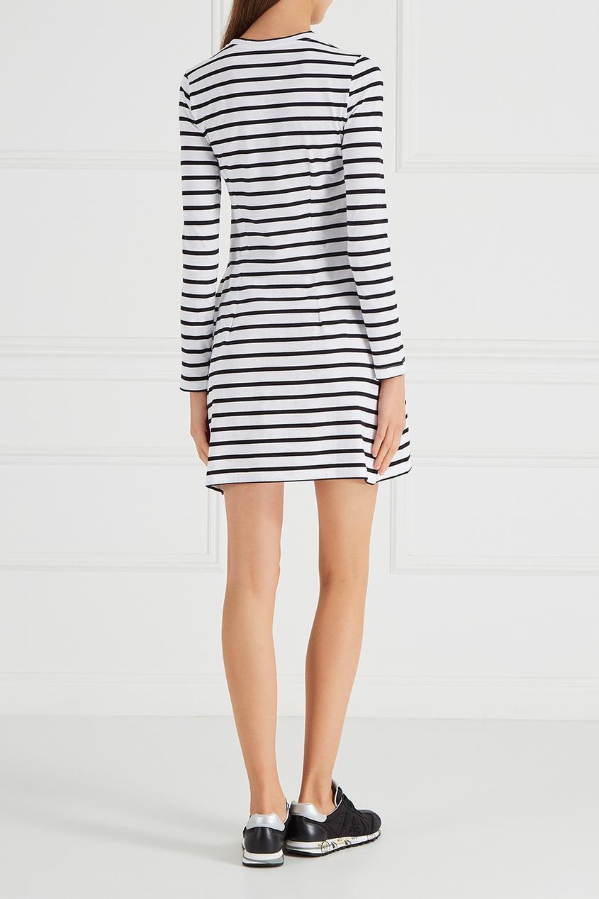 Платье в черно-белую полоску