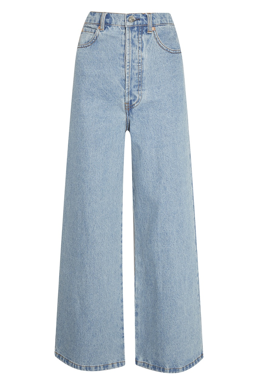 Голубые выбеленные джинсы