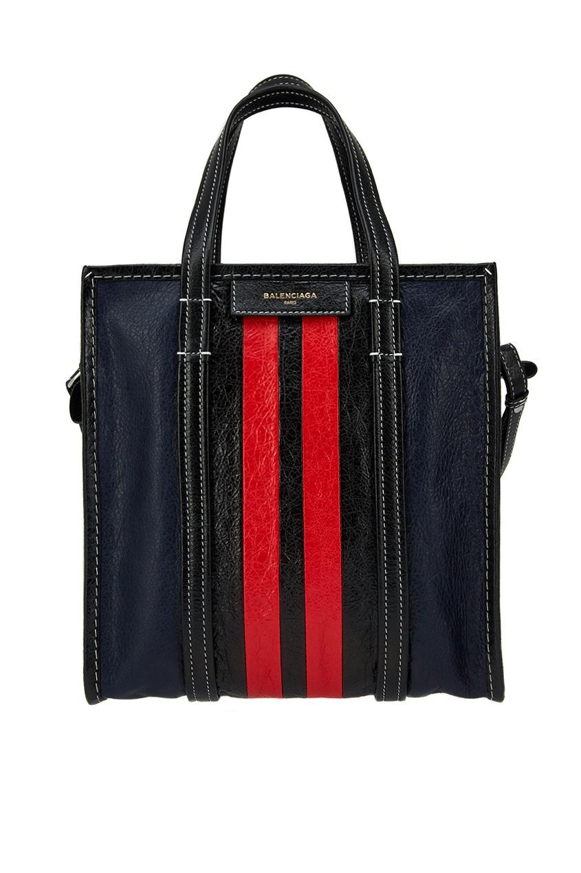 Кожаная сумка с полосками Bazar Shopper S