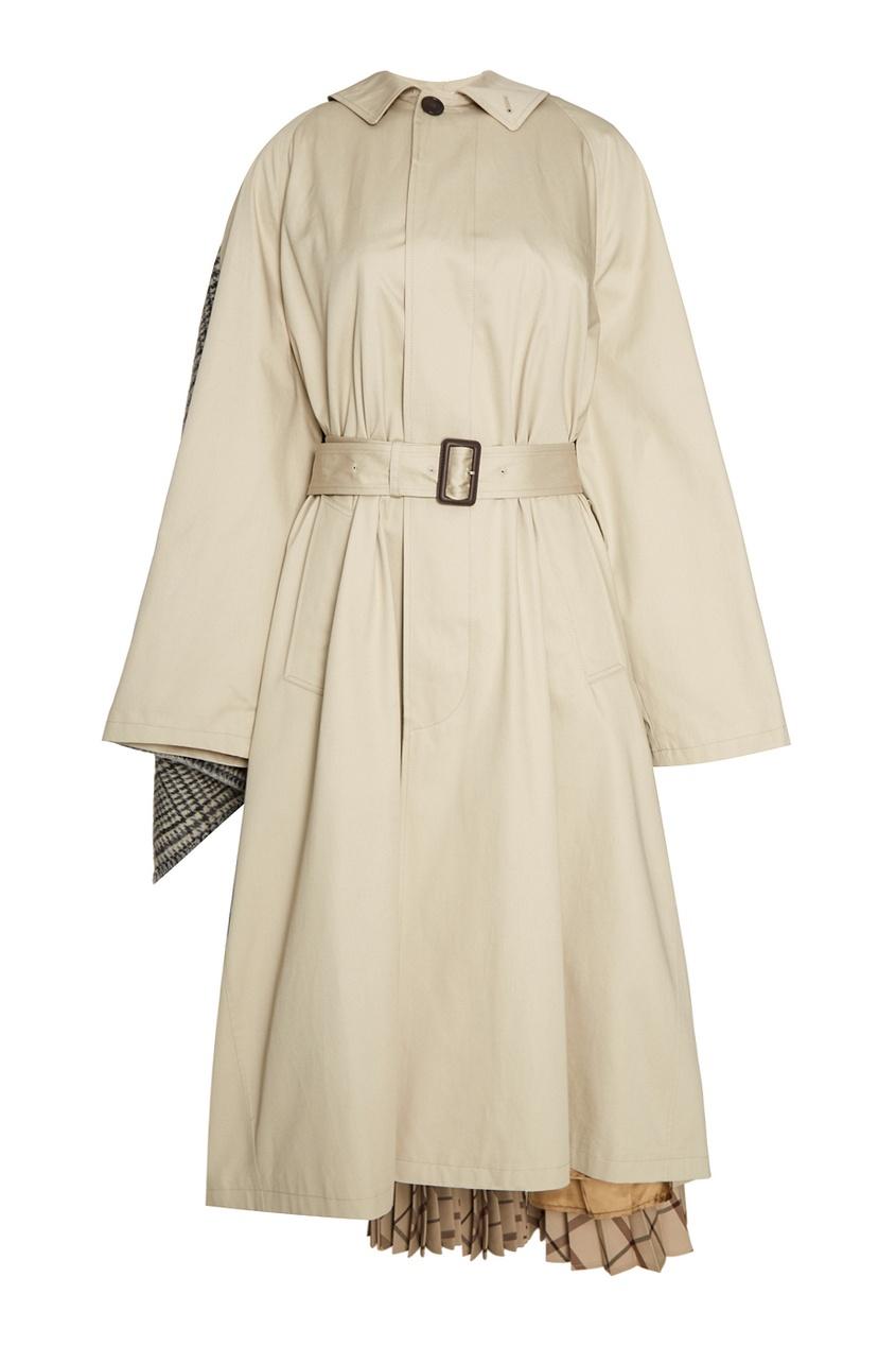Balenciaga Хлопковое пальто с плиссированной деталью