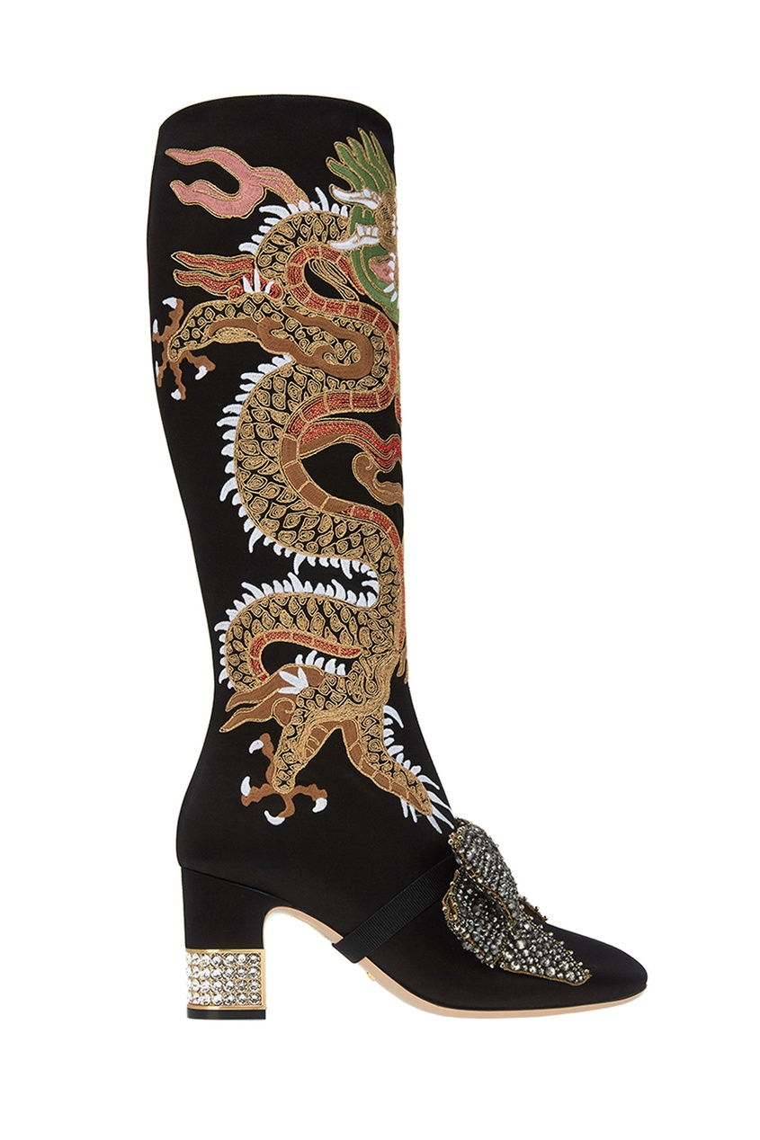 Черные сапоги из сатина с вышивкой Gucci