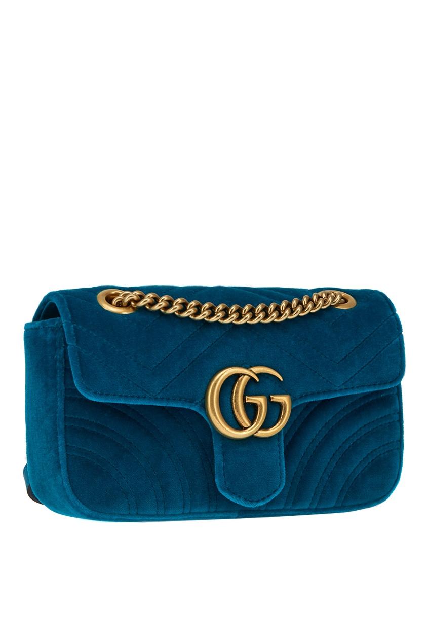 Gucci Бирюзовая сумка GG Marmont из бархата