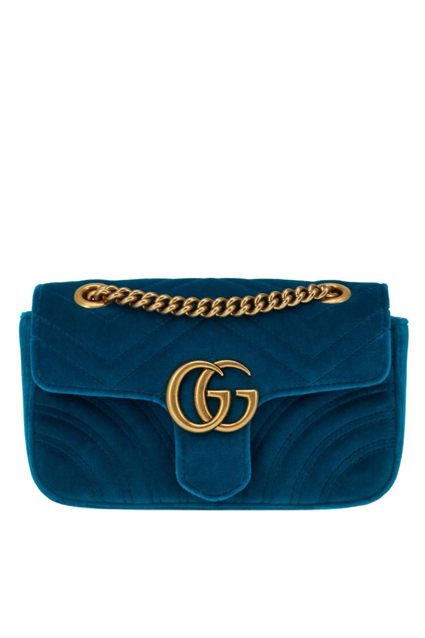 Gucci Бирюзовая сумка GG Marmont из бархата gucci кожаные туфли gg marmont