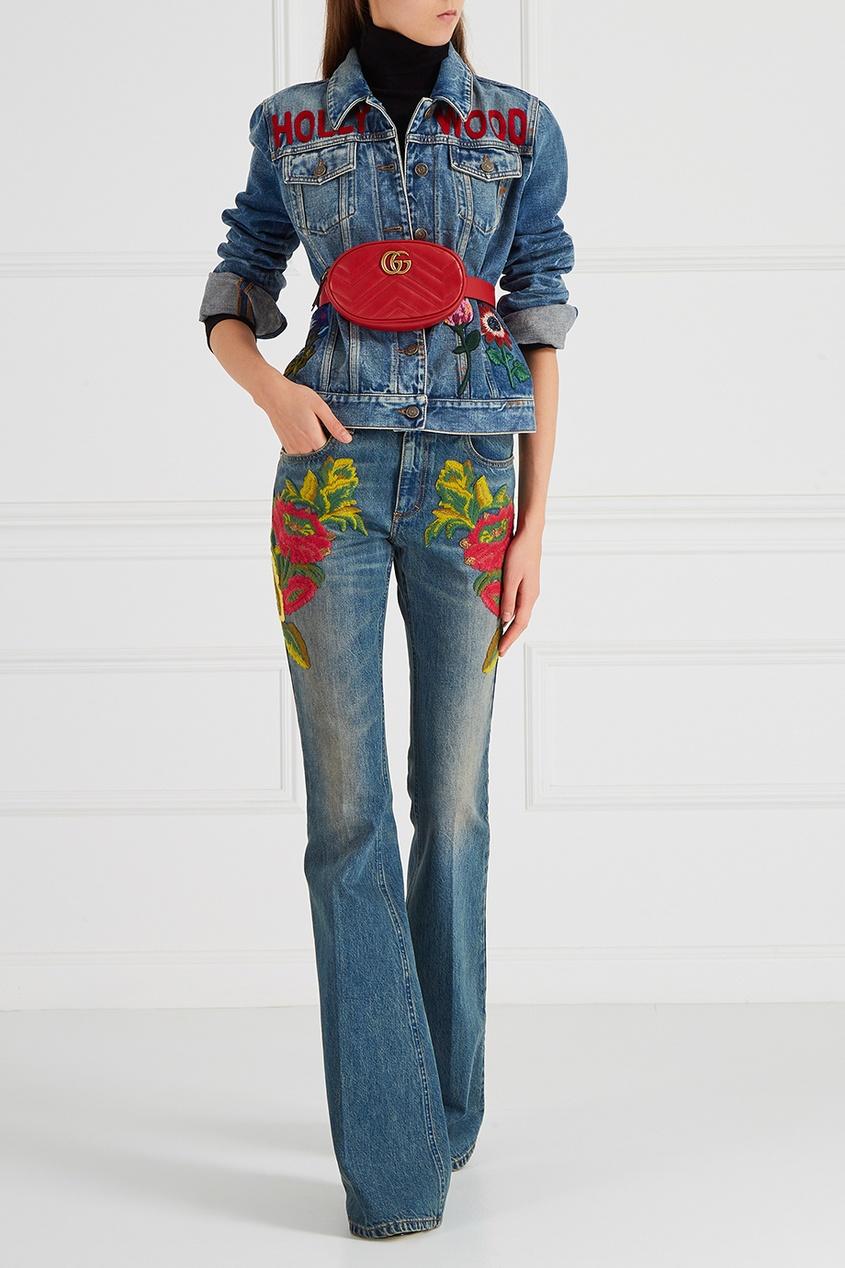 Gucci Джинсовая куртка с вышитыми цветами gucci туалетная вода flora by gucci fraiche 75 ml
