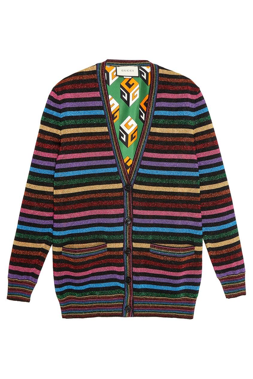 Gucci Кардиган из трикотажа с люрексом кардиган в разноцветную полоску catimini ут 00011664
