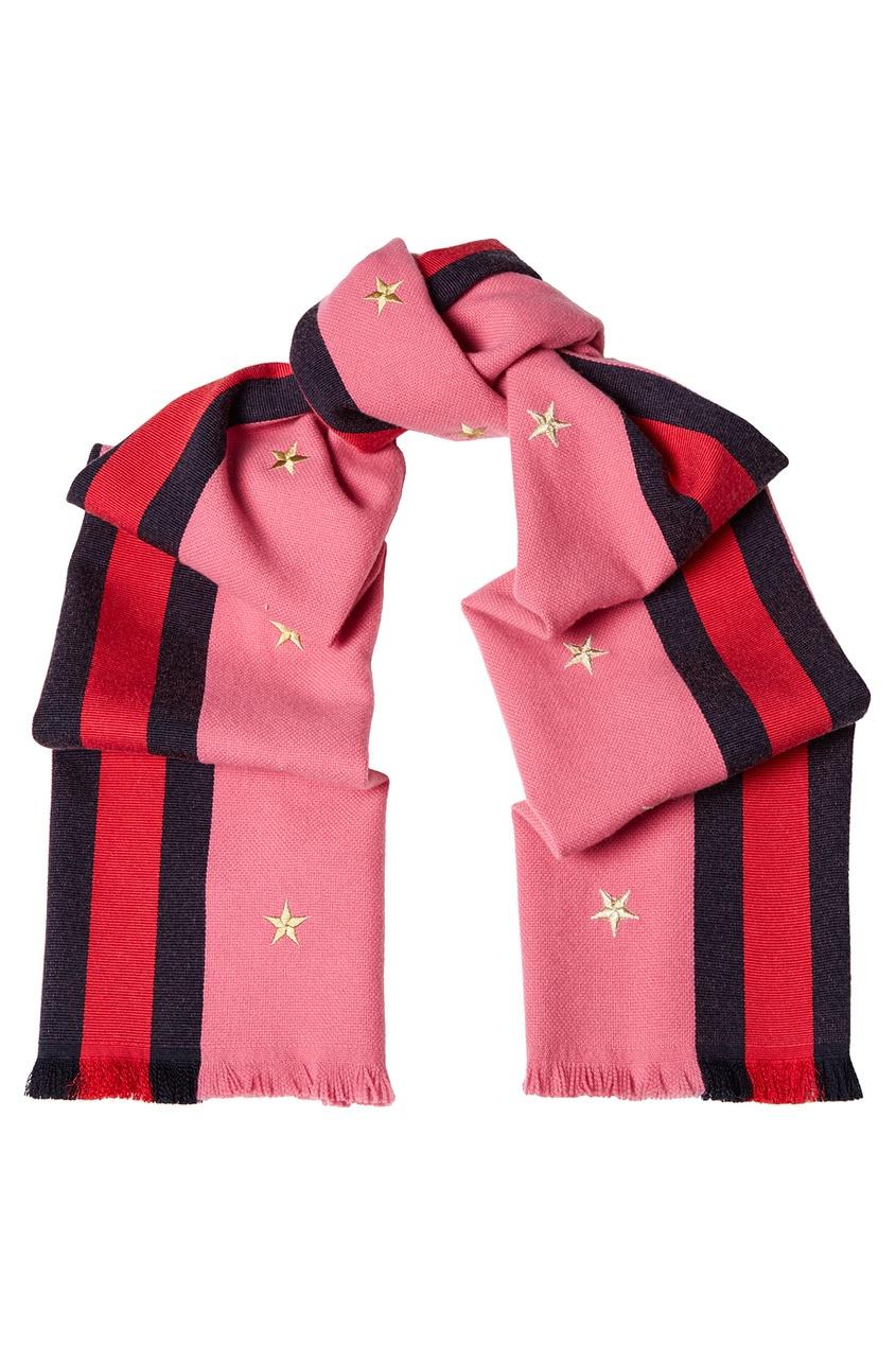Розовый шарф из шерсти и кашемира