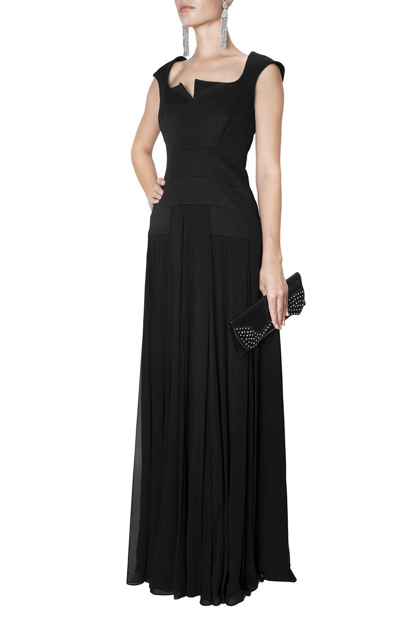 Черное платье в пол Zac Posen