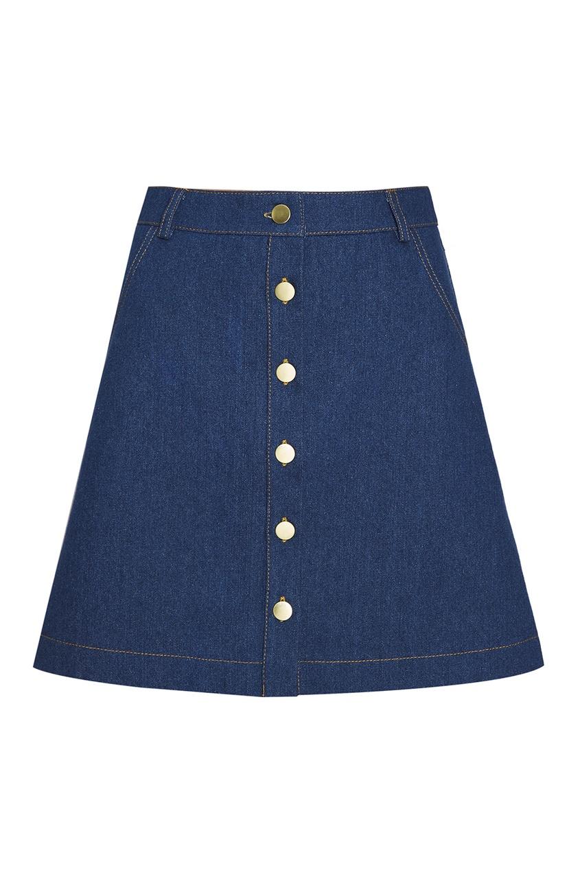 Джинсовая юбка-мини на пуговицах
