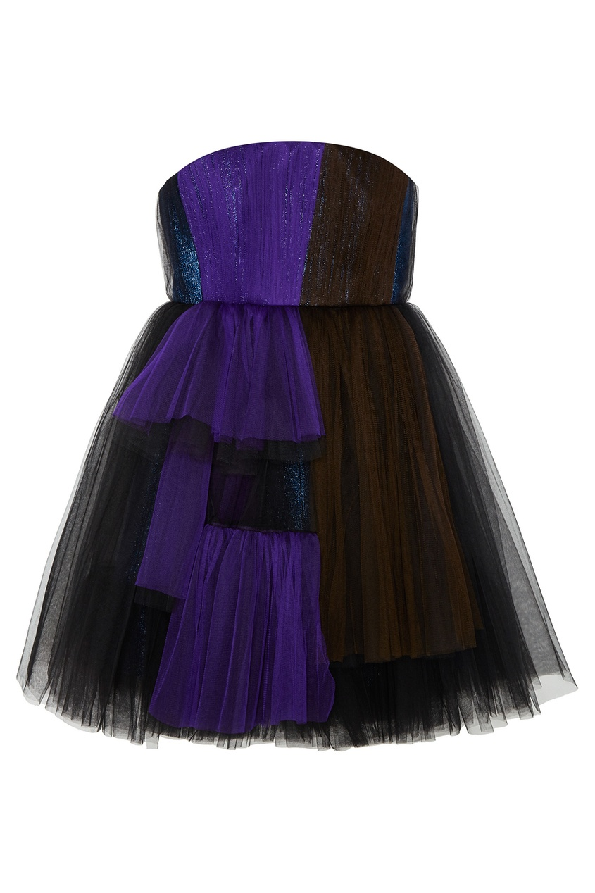 delpozo юбка из хлопка и шелка Delpozo Платье из драпированной сетки