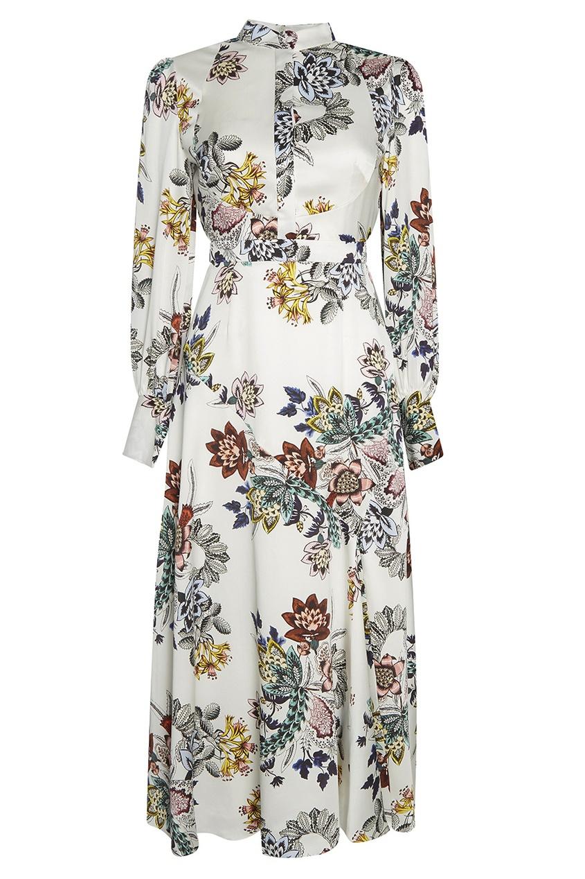 Шелковое платье с цветочным принтом Orlena.