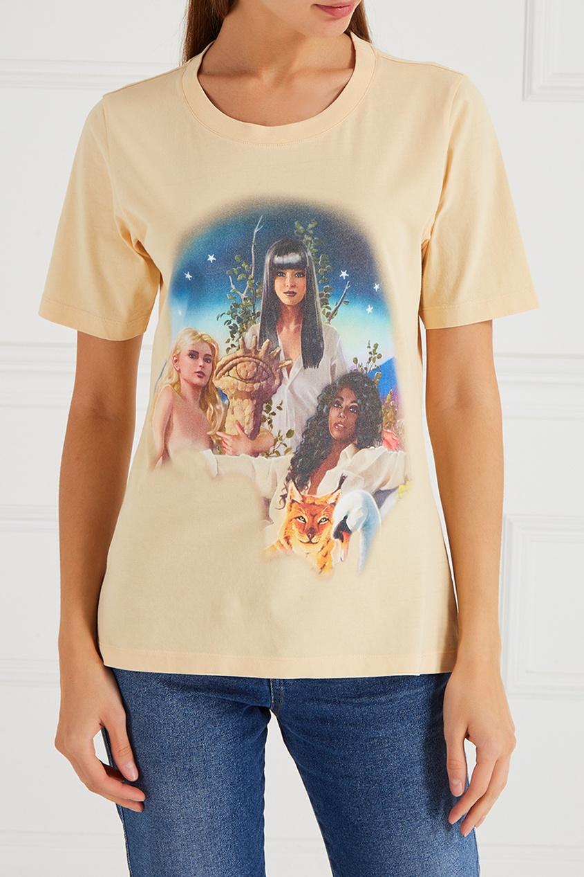 Aalto Хлопковая футболка с принтом сумка elle e4000d30716 2014 30716