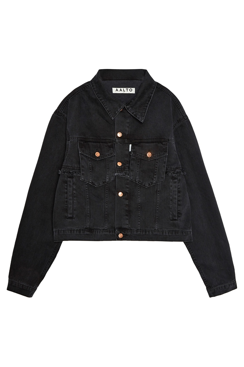 Купить со скидкой Черная джинсовая куртка