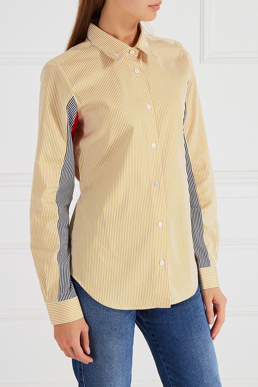 Желтая рубашка в полоску
