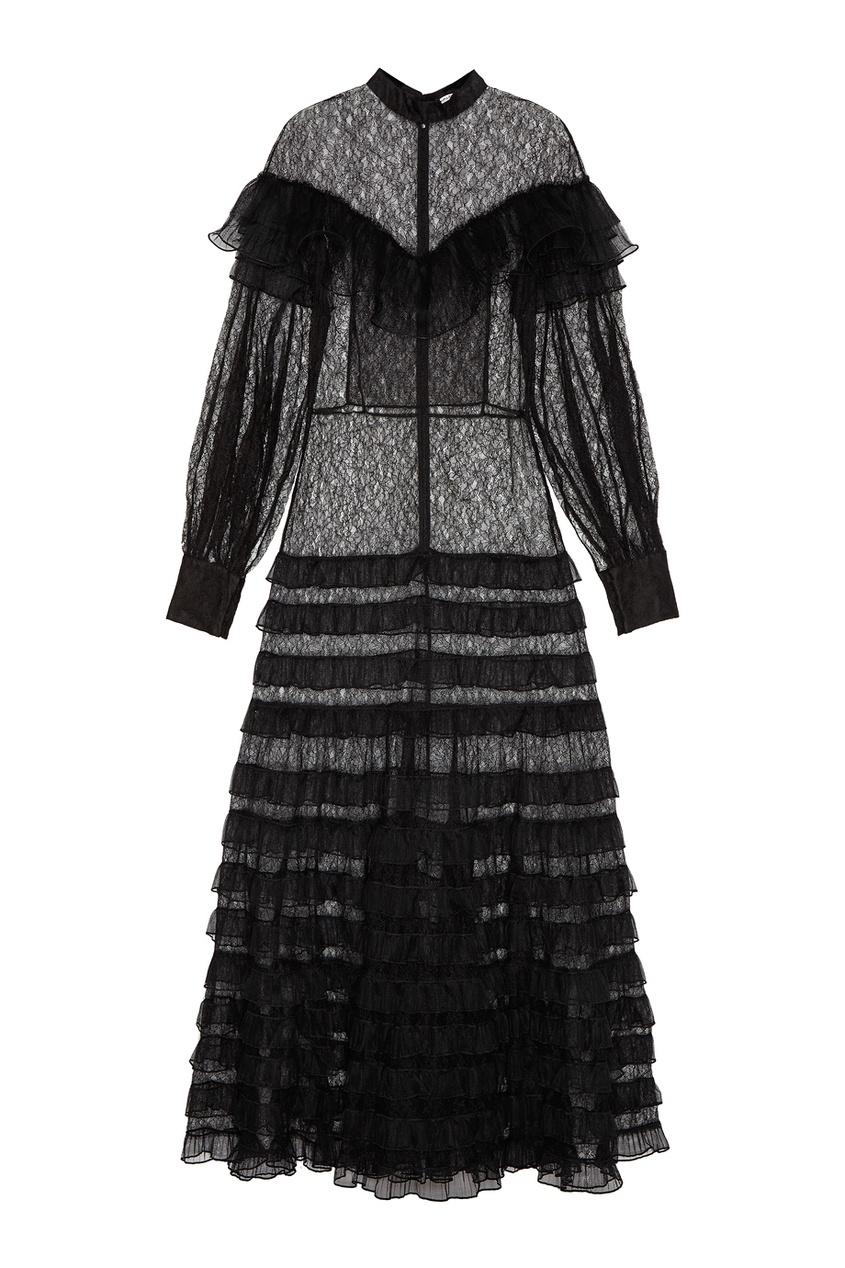 Платье-макси с оборками