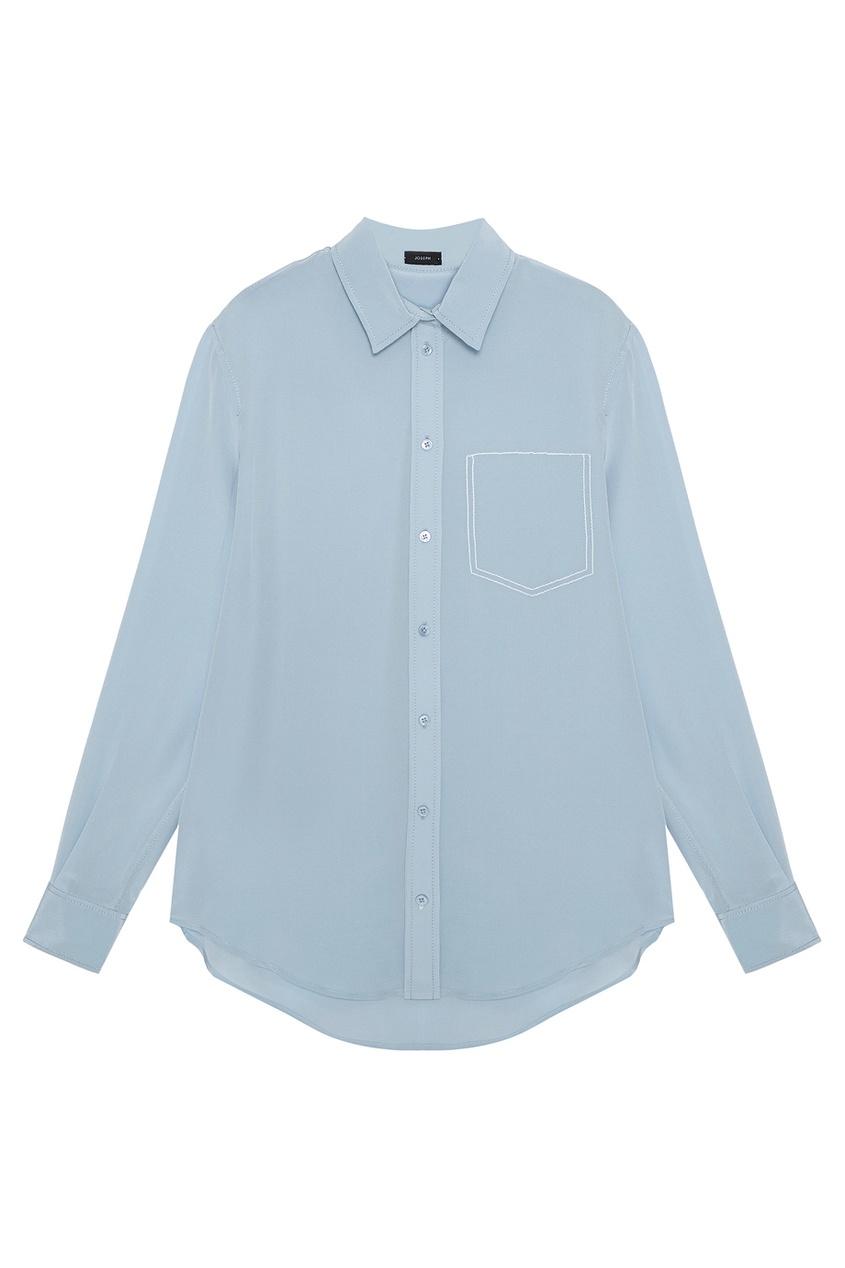 Голубая блузка из шелка