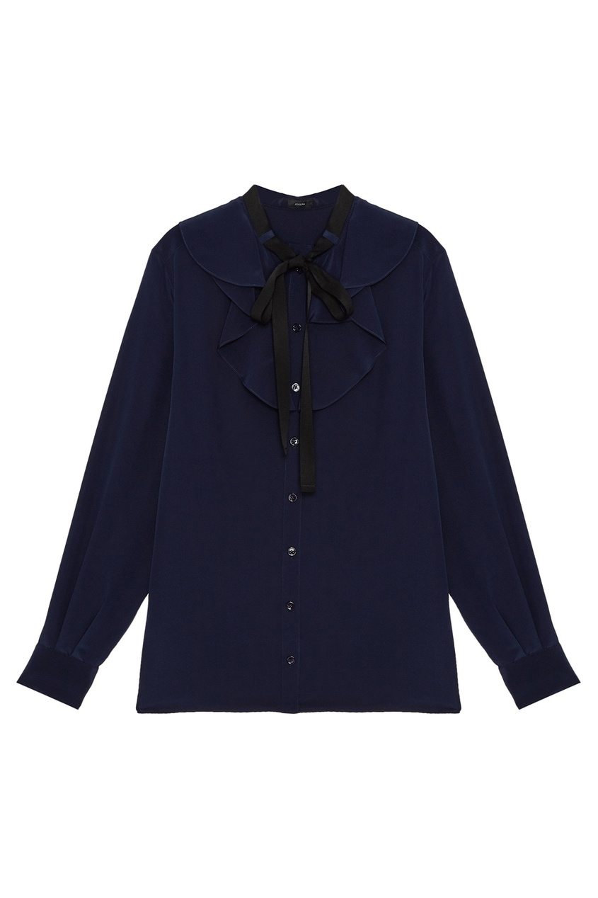 Шелковая блузка с жабо