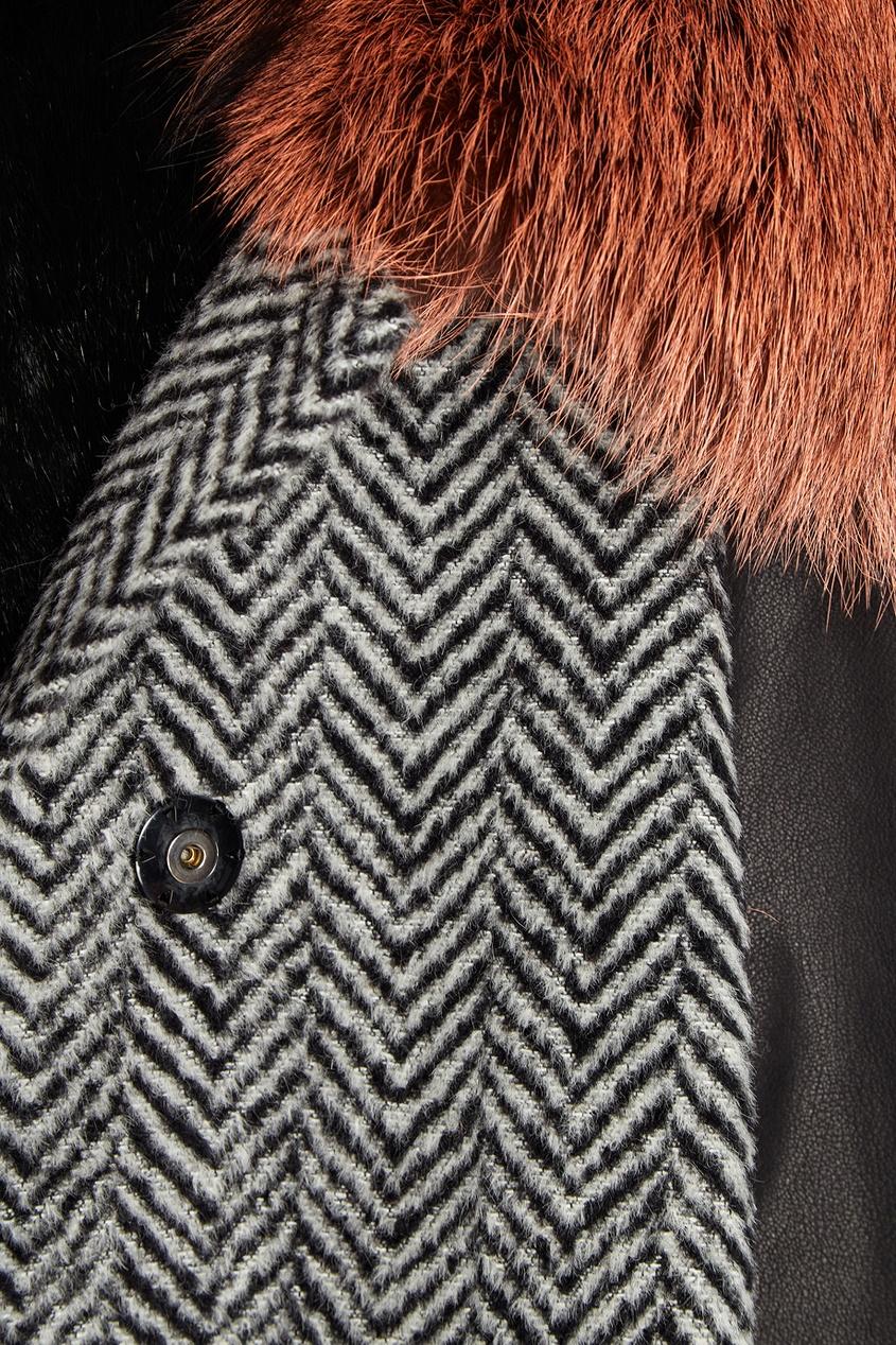 Color Temperature Пальто из драпа с меховым воротником пальто из шерстяного драпа 70