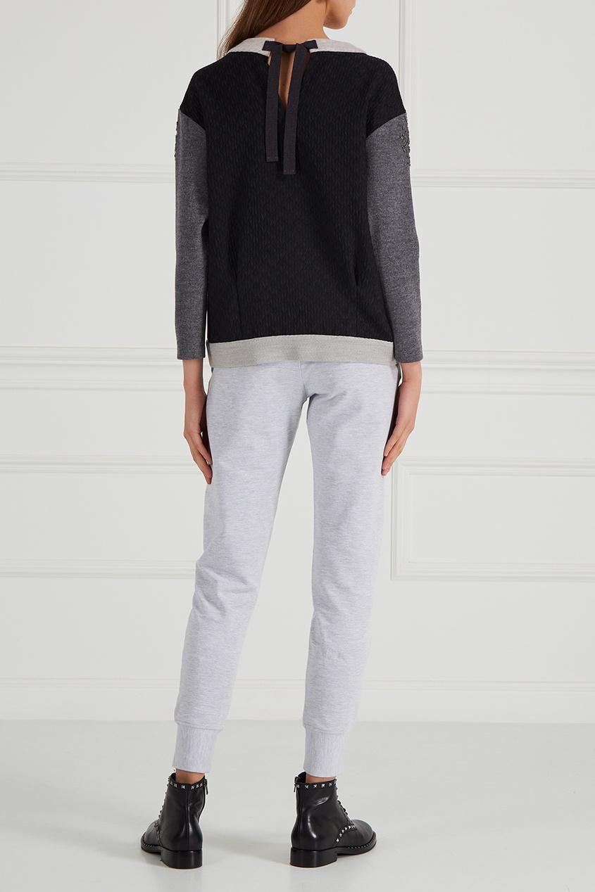 Меланжевые брюки из хлопка