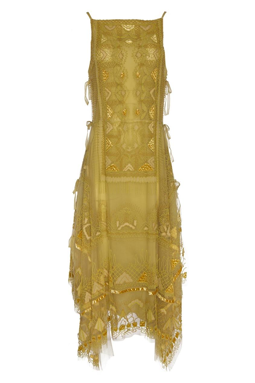 Valentino Платье с вышивкой бисером объемная вышивка с бисером