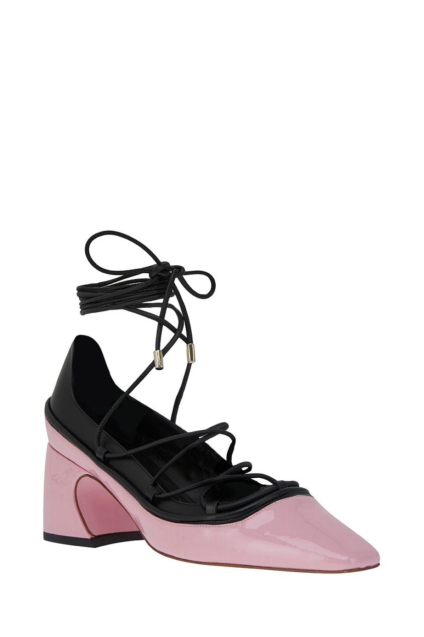 Фото 2 - Розовые туфли на шнуровке от Rosbalet розового цвета