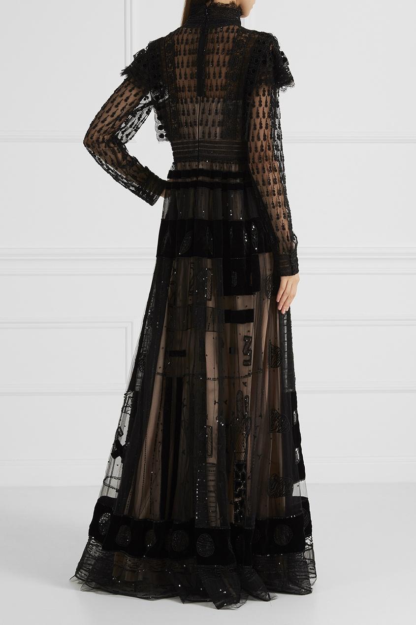 Платье-макси с вышивкой Valentino 21054203