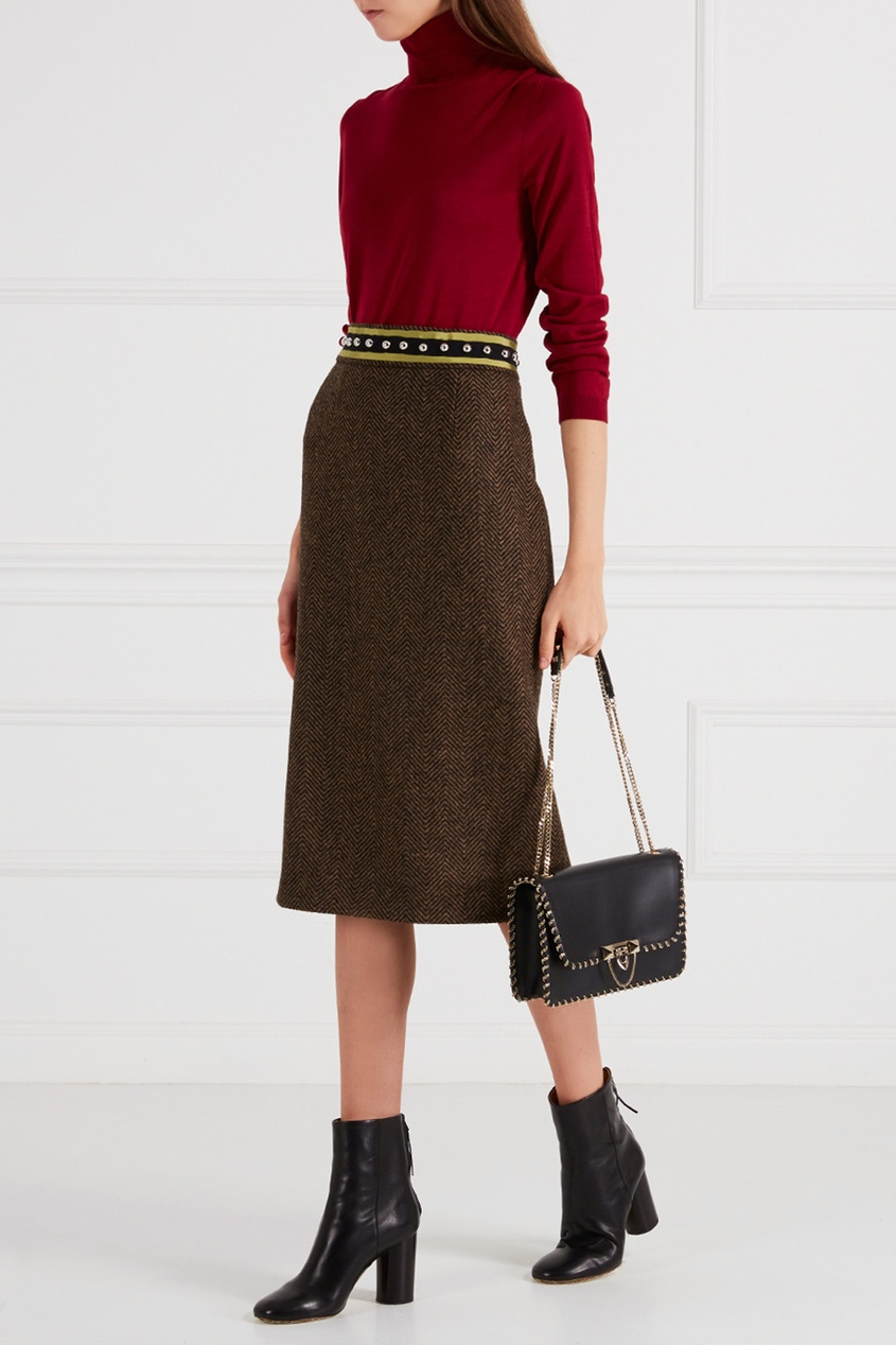Red Valentino Шерстяная юбка коричневая valentino юбка от valentino 68659