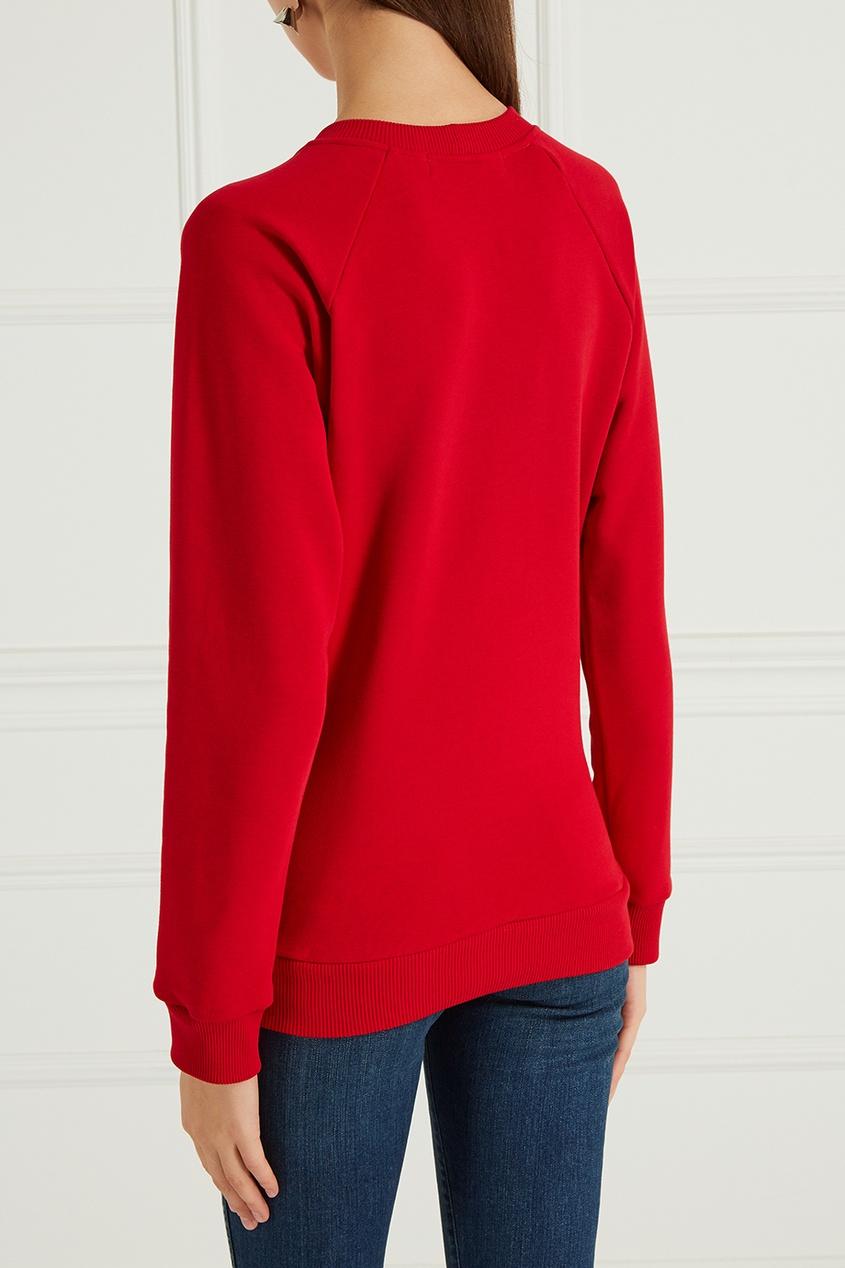 Красный свитшот с вышивкой