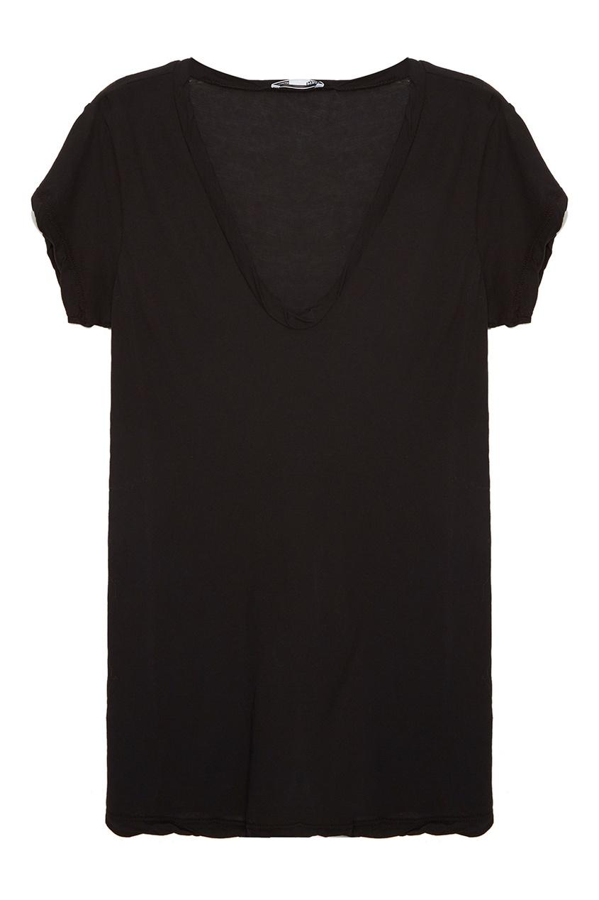 James Perse Черная футболка из хлопка elizabeth and james широкие брюки