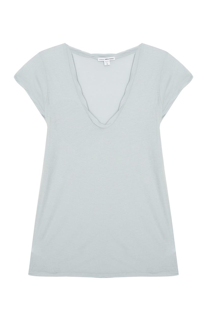 Голубая футболка из хлопка