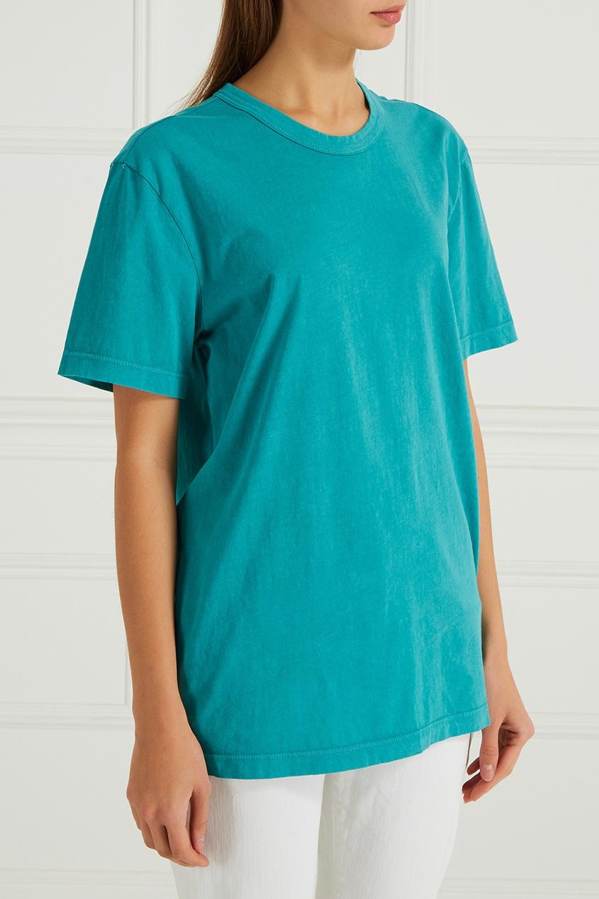 Бирюзовая футболка из хлопка