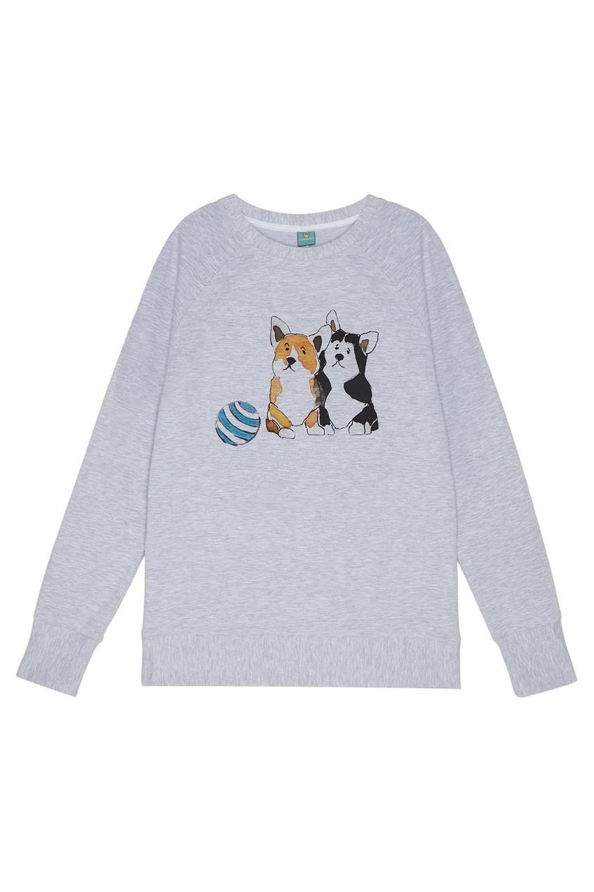 LISA&LEO Свитшот с акварельным принтом свитшот серый кот и бант lisa