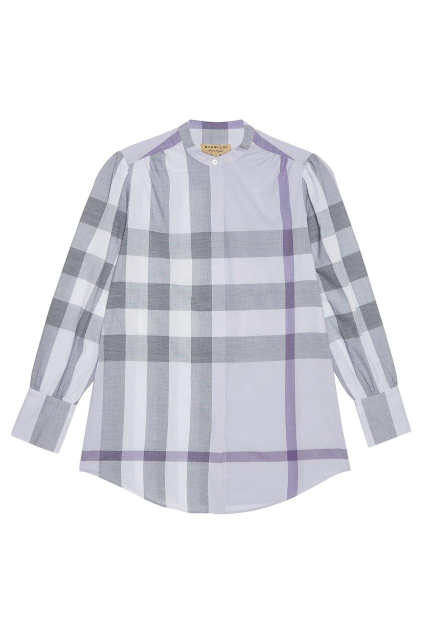 Фиолетовая блузка в клетку