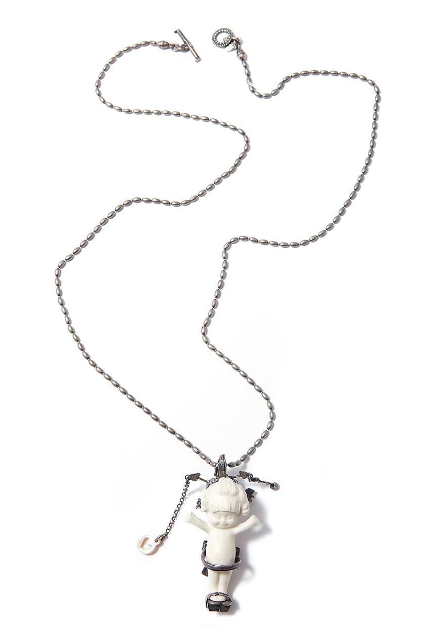 Gem Kingdom Серебряное колье c фарфоровым пупсом Geisha gem kingdom серебряные серьги ласточки с перламутром