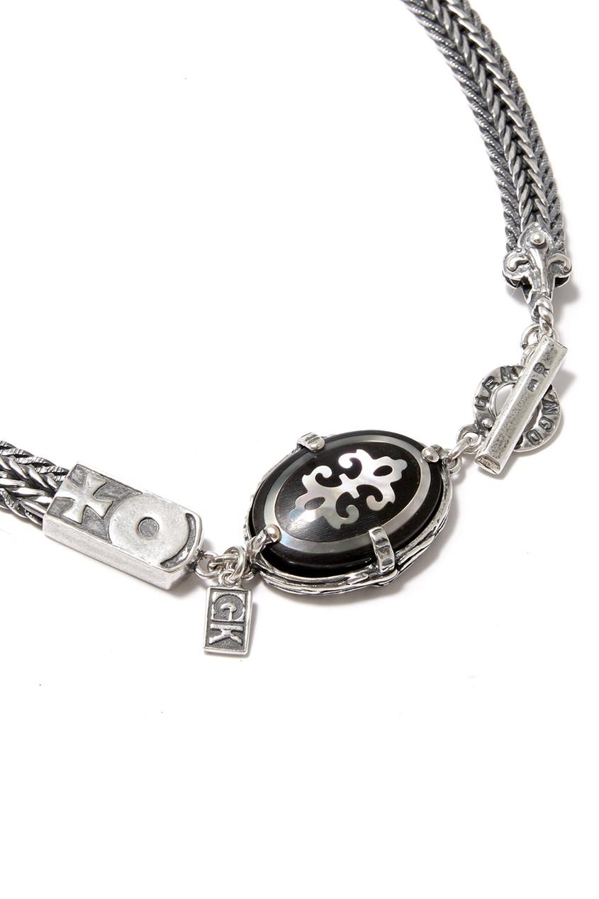 Gem Kingdom Серебряное колье с подвеской из рога gem kingdom серебряные серьги ласточки с перламутром